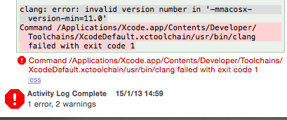 Xcode 5 x: clang: error: invalid version number in '-mmacosx-version